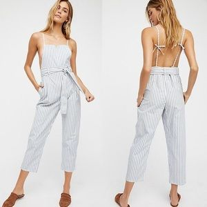 Free People Striped Jumpsuit Overalls